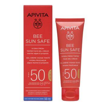 Apivita Bee Sun Safe SPF50 Αντηλιακή Ενυδατική Κρέμα-Gel Προσώπου με Χρώμα 50ml