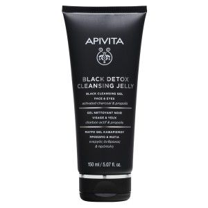 Apivita Μαύρο Gel Καθαρισμού Για Πρόσωπο & Μάτια με ενεργό άνθρακα & πρόπολη 150ml
