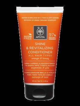 Apivita Holistic Hair Care Κρέμα Λάμψης & Αναζωογόνησης για Όλους τους Τύπους Μαλλιών με Πορτοκάλι & Μέλι 150ml