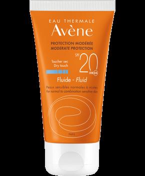 Avene Solaire Fluide Dry Touch SPF20+ Αντηλιακή Λεπτόρευστη Κρέμα Προσώπου για Κανονικό Μεικτό & Λιπαρό Δέρμα 50ml
