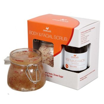 Body & Facial Scrub Με Καστανή Ζάχαρη Ελληνικό Αλάτι Μεσολογγίου & Σπόρους Cranberry 250ml