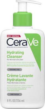 CeraVe Hydrating Cleanser Cream for Normal to Dry Skin Κρέμα Καθαρισμού για Κανονική έως Ξηρή Επιδερμίδα 236ml