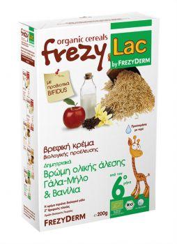 Frezyderm Frezylac Bio Cereal Βρεφική Κρέμα Βρώμης Ολικής Άλεσης Με Γάλα Μήλο Και Βανίλια Από Τον 6ο Μήνα 200 Gr