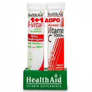 Health Aid B-Vital 20eff.tabs + Δώρο Health Aid Vitamin C 1000mg Orange 20tabs eff