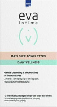 Intermed Eva Intima Maxi Size Towelettes Απαλός Καθαρισμός Της Ευαίσθητης Περιοχής 12τμχ