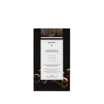 Korres Argan Oil Ageless Colorant με ceramides - Σκούρο ξανθό μπεζ 6.17 Μόνιμη Βαφή Μαλλιών 160ml