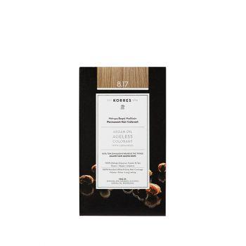 Korres Argan Oil Ageless Colorant με ceramides - Ανοιχτό ξανθό μπεζ 8.17 Μόνιμη Βαφή Μαλλιών 160ml