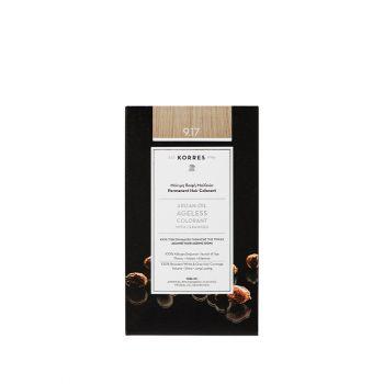 Korres Argan Oil Ageless Colorant με ceramides - Κατάξανθο ανοιχτό μπεζ 9.17 Μόνιμη Βαφή Μαλλιών 160ml