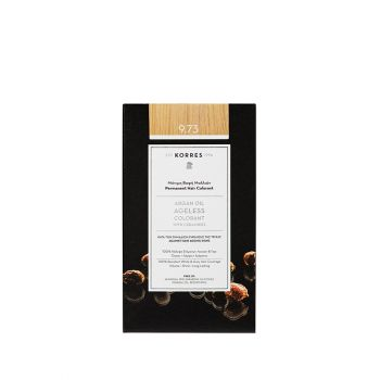 Korres Argan Oil Ageless Colorant με ceramides - Χρυσό κάστανο 9.73 Μόνιμη Βαφή Μαλλιών 160ml