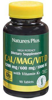 Nature's Plus Cal-Mag-Vit D3-K2 1200-600-1000-100 90tabs