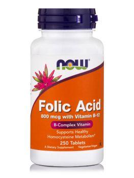 Now Foods Folic Acid 800mcg + B-12 25mcg  250veg.tabs