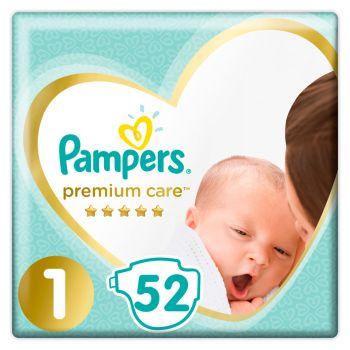 Pampers Premium Care Newborn Μέγεθος 1 (2-5kg) 52 πάνες