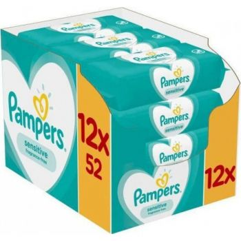 Pampers Wipes Sensitive 12x52 τεμάχια