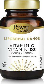 Power Of Nature Liposomal Range Vitamin C 300mg & Vitamin D3 1000iu 30 κάψουλες