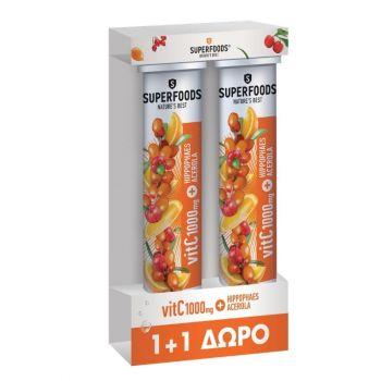 Superfoods VitC 1000mg Hippophaes Acerola 2x20 Αναβράζοντα Δισκία [1+1 ΔΩΡΟ]