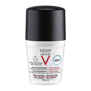 Vichy Homme 48h 'No Trace' Deodorant Roll-on Ανδρικό Αποσμητικό ενάντια στα σημάδια 50ml