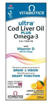 Vitabiotics Ultra Liquid Cod Liver Oil plus Omega-3 250ml
